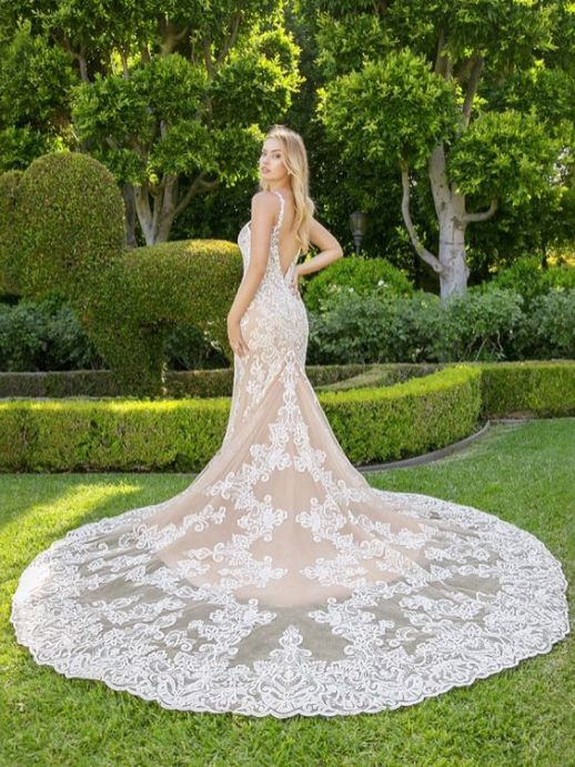 40 Fit and Flare With Long Train Wedding Dresses Ideas 25