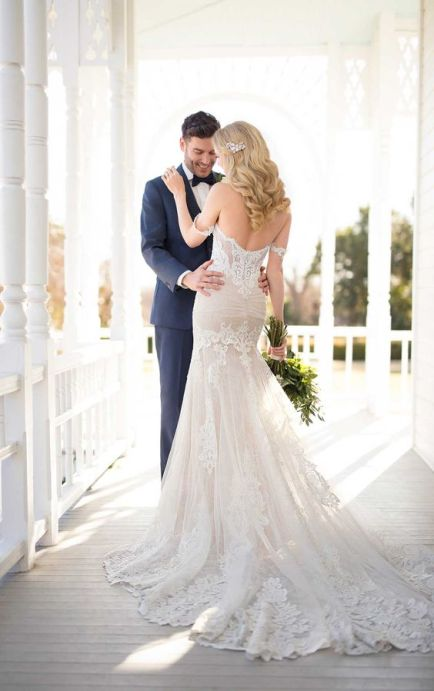 40 Fit and Flare With Long Train Wedding Dresses Ideas 26