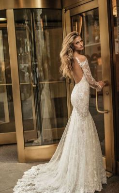 40 Fit and Flare With Long Train Wedding Dresses Ideas 27