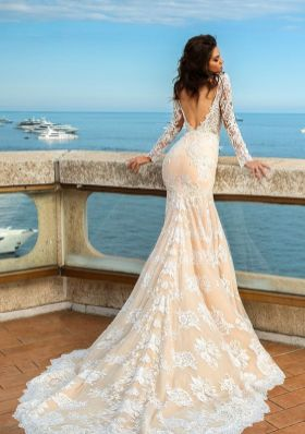 40 Fit and Flare With Long Train Wedding Dresses Ideas 28