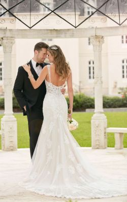 40 Fit and Flare With Long Train Wedding Dresses Ideas 29