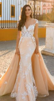 40 Fit and Flare With Long Train Wedding Dresses Ideas 3