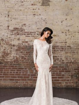 40 Fit and Flare With Long Train Wedding Dresses Ideas 42