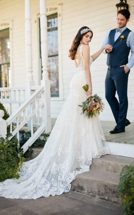 40 Fit and Flare With Long Train Wedding Dresses Ideas 44