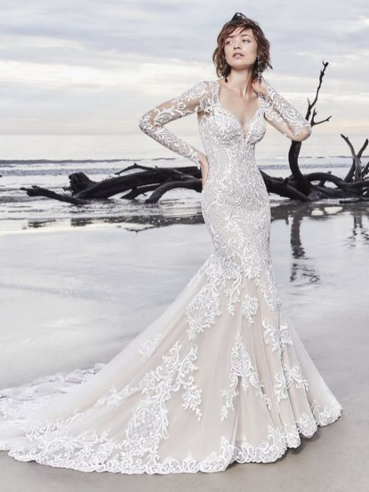 40 Fit and Flare With Long Train Wedding Dresses Ideas 47