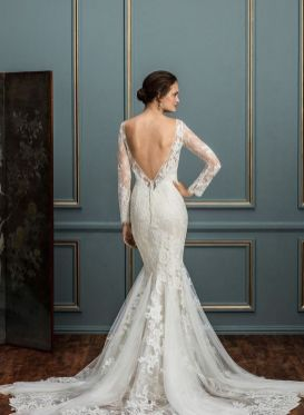 40 Fit and Flare With Long Train Wedding Dresses Ideas 8