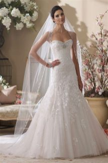 40 Long Viels Wedding Dresses Ideas 43