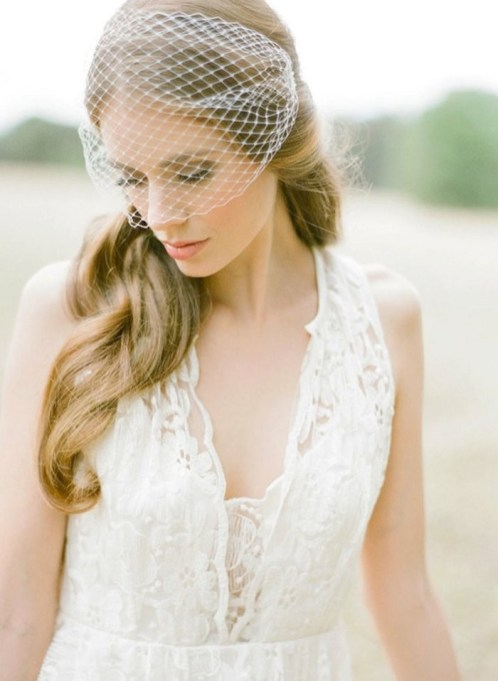 50 Blusher Veils and Bridcage for Brides Ideas 29