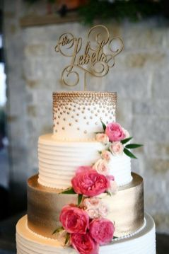 50 Gold Wedding Cakes Ideas 14
