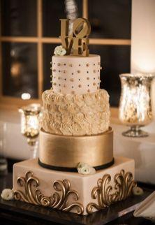 50 Gold Wedding Cakes Ideas 23