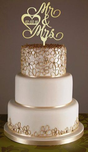 50 Gold Wedding Cakes Ideas 41
