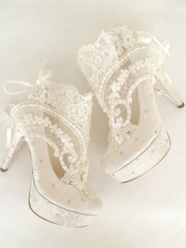 50 Lace Heels Bridal Shoes Ideas 34