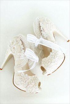 50 Lace Heels Bridal Shoes Ideas 4
