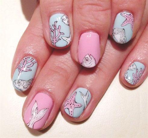 40 Beach Themed Nail Art for Summer Ideas 38