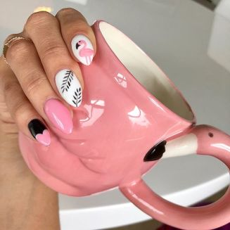40 Cute Flamingo Themed Nail Art Ideas 13