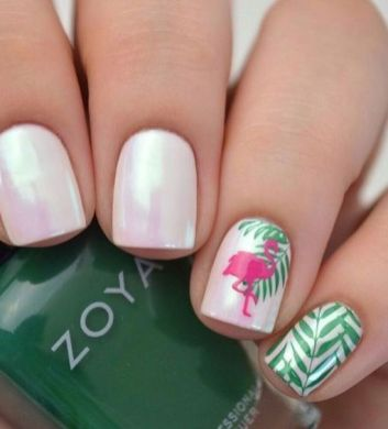 40 Cute Flamingo Themed Nail Art Ideas 19