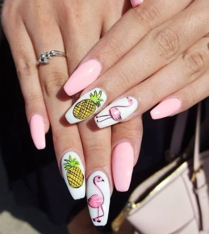 40 Cute Flamingo Themed Nail Art Ideas 2