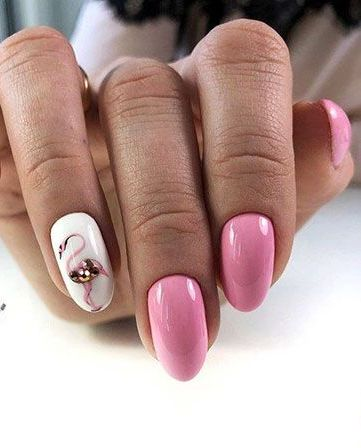 40 Cute Flamingo Themed Nail Art Ideas 20