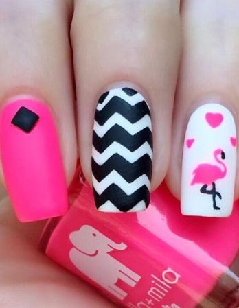 40 Cute Flamingo Themed Nail Art Ideas 23