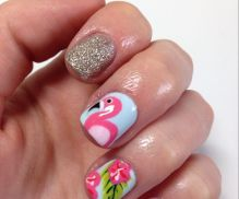 40 Cute Flamingo Themed Nail Art Ideas 37
