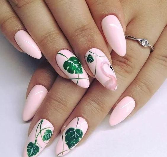 40 Cute Flamingo Themed Nail Art Ideas 4