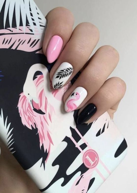 40 Cute Flamingo Themed Nail Art Ideas 5