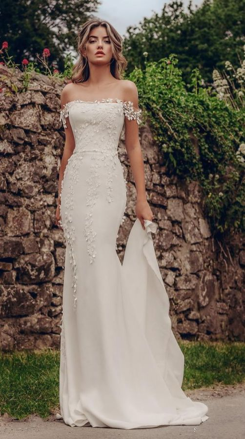 40 Off the Shoulder Wedding Dresses Ideas 14