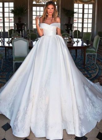40 Off the Shoulder Wedding Dresses Ideas 48
