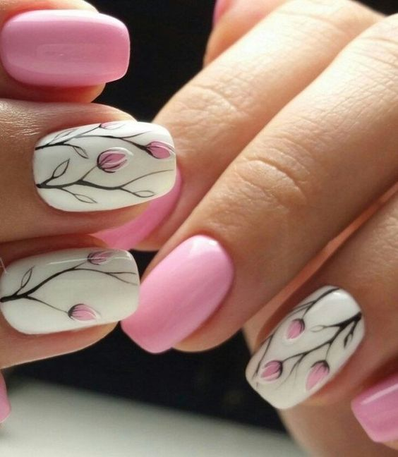 50 Floral Nail Art for Summer and Spring Ideas 44