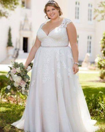 50 V Neck Bridal Dresses for Plus Size Ideas 19