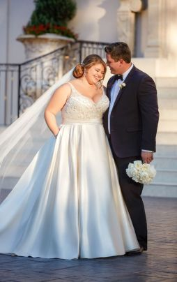 50 V Neck Bridal Dresses for Plus Size Ideas 5