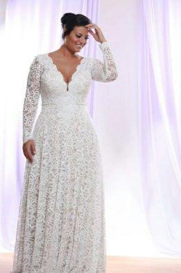 50 V Neck Bridal Dresses for Plus Size Ideas 8