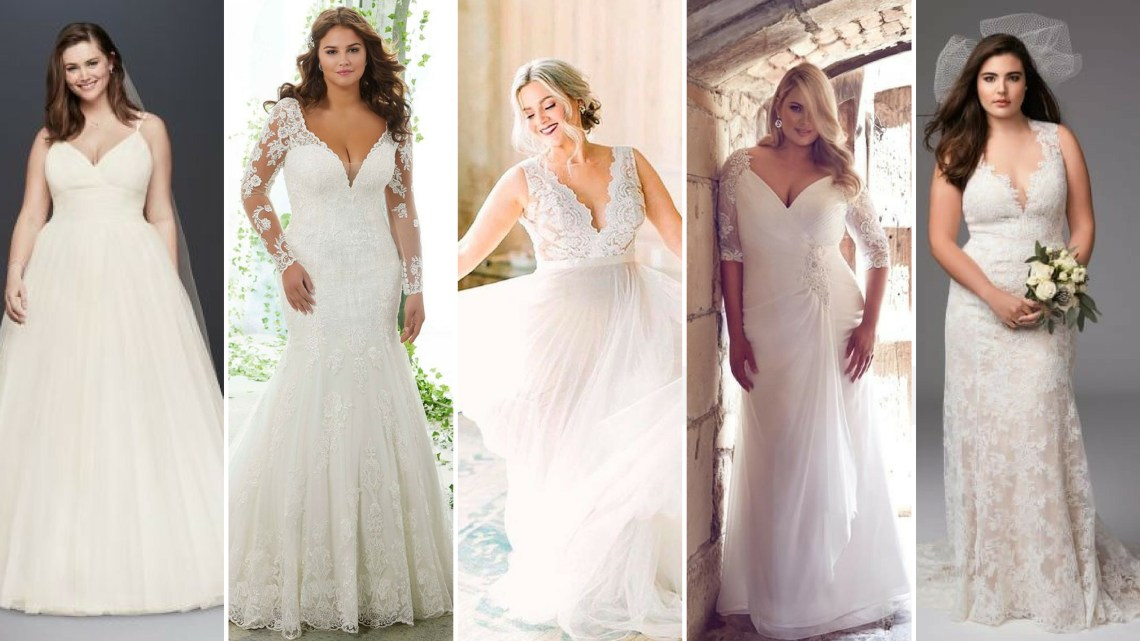 50 V Neck Bridal Dresses for Plus Size Ideas