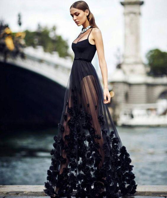 40 Black Mesh Long Dresses Ideas 18