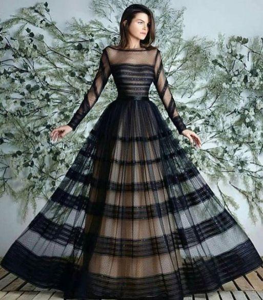 40 Black Mesh Long Dresses Ideas 20