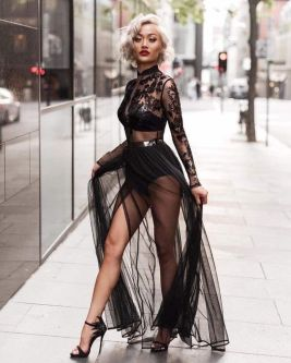 40 Black Mesh Long Dresses Ideas 24