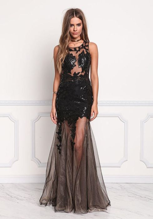 40 Black Mesh Long Dresses Ideas 38