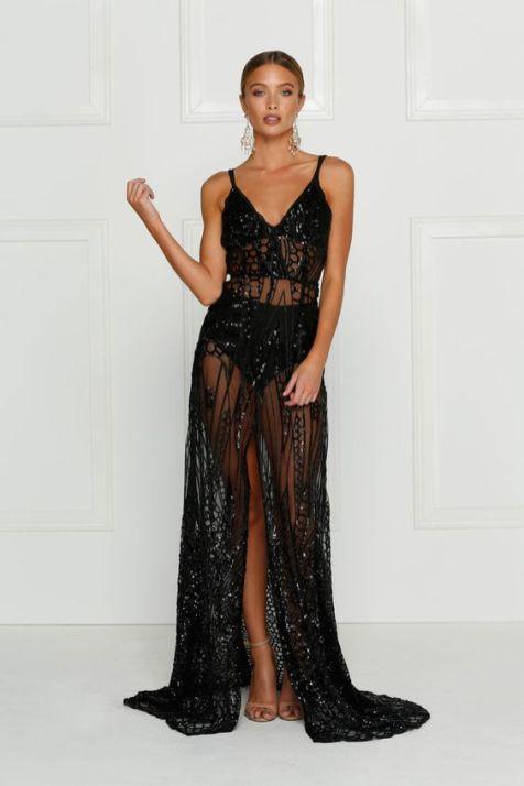 40 Black Mesh Long Dresses Ideas 39