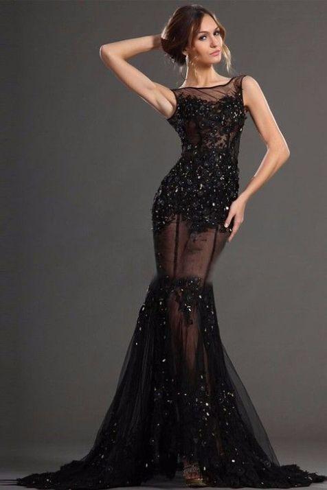 40 Black Mesh Long Dresses Ideas 41
