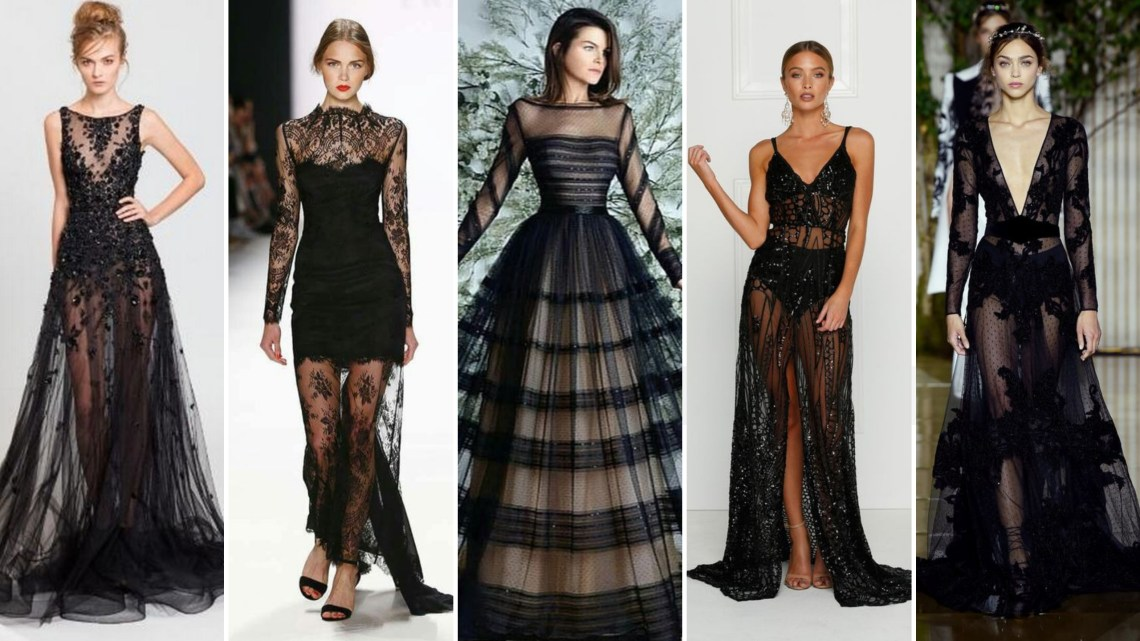 40 Black Mesh Long Dresses Ideas