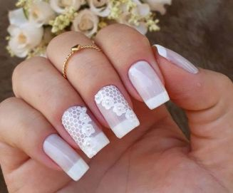 40 Elegant Look Bridal Nail Art Ideas 22