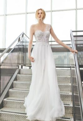 50 One Shoulder Bridal Dresses Ideas 11