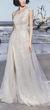 50 One Shoulder Bridal Dresses Ideas 12