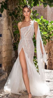 50 One Shoulder Bridal Dresses Ideas 24