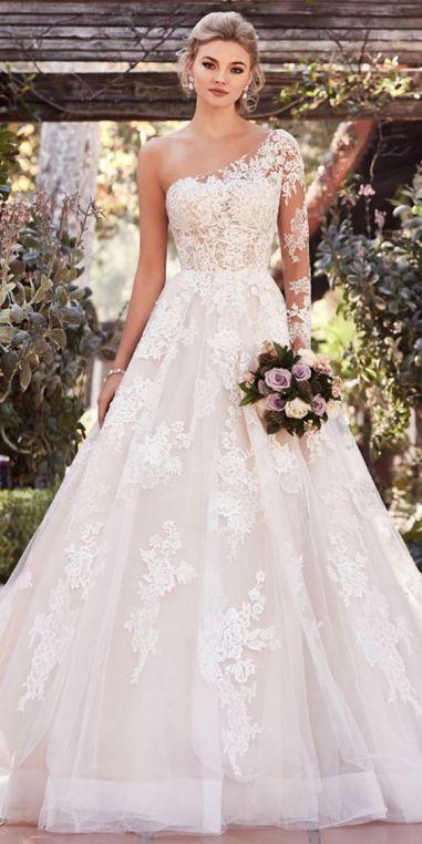 50 One Shoulder Bridal Dresses Ideas 3