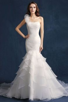 50 One Shoulder Bridal Dresses Ideas 33