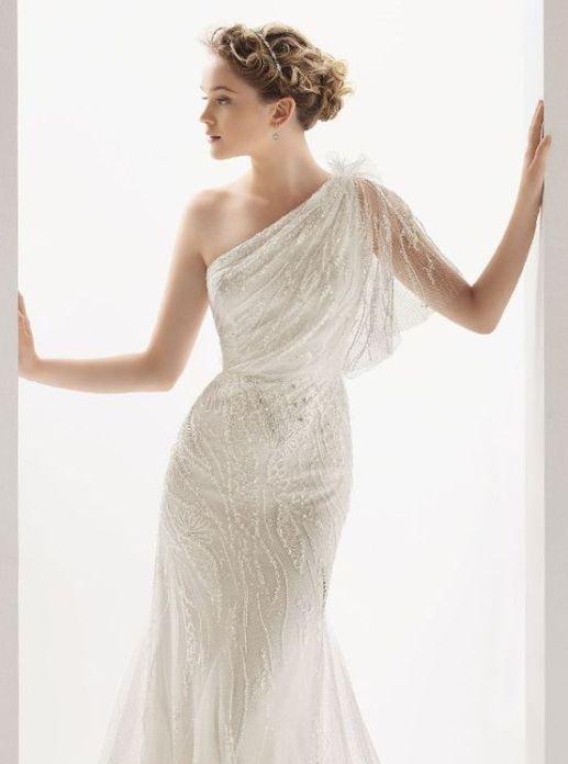 50 One Shoulder Bridal Dresses Ideas 34