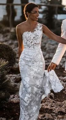 50 One Shoulder Bridal Dresses Ideas 4
