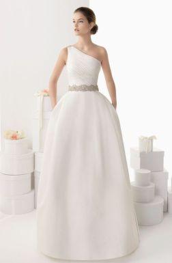 50 One Shoulder Bridal Dresses Ideas 44