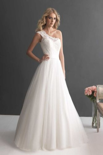 50 One Shoulder Bridal Dresses Ideas 48